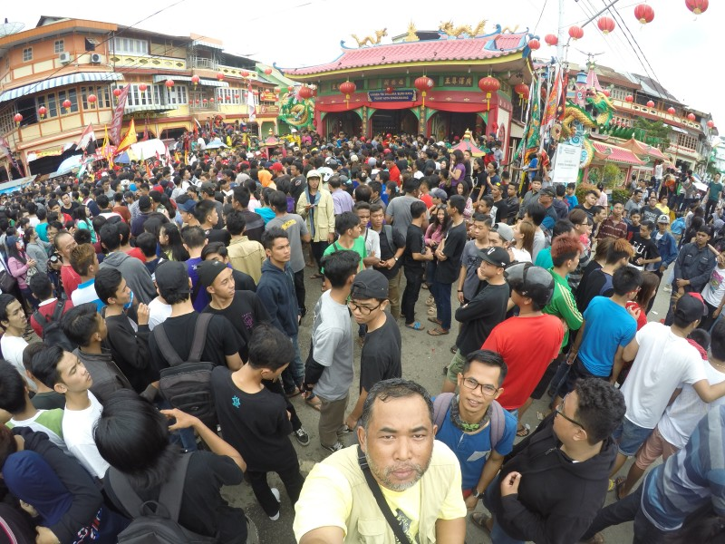 in front of Tri Dharma Bumi Raya Vihara