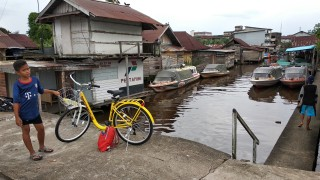 Pontianak City Bike Tour & Rental PANGKALAN SPEED BOAT Kampung Kamboja Kapuas River Waterfront.